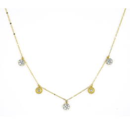 Jude Frances Yellow Gold Petite Dancing Pave Diamond Circle Necklace