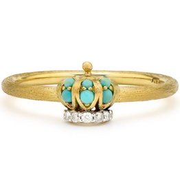 Jude Frances Yellow Gold Petite Turquoise Crown Band