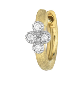 Jude Frances Yellow Gold Petite Brushed Diamond Quad Hoop