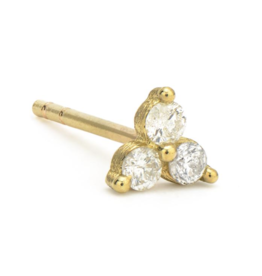 Jude Frances Yellow Gold Petite White Diamond Trio Stud