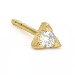 Jude Frances Yellow Gold Petite White Diamond Trillion Stud