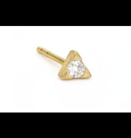 Yellow Gold Petite White Diamond Trillion Stud