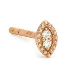 Jude Frances Rose Gold Petite Diamond Marquis Stud