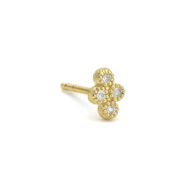 Yellow Gold Petite Diamond Quad Stud