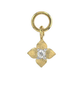 Jude Frances Yellow Gold Petite Brushed Diamond Flower Charm