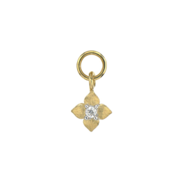 Yellow Gold Petite Brushed Diamond Flower Charm