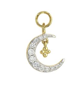 Jude Frances Yellow Gold Petite Pave Diamond Crescent Moon Charm