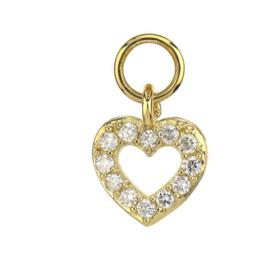 Jude Frances Yellow Gold Petite Pave Diamond Open Heart Charm