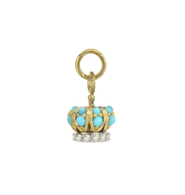 Petite Turquoise & Diamond Crown Charm