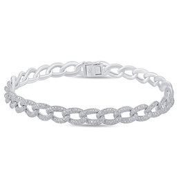 Luvente Luvente White Gold and Diamond Chain Bracelet