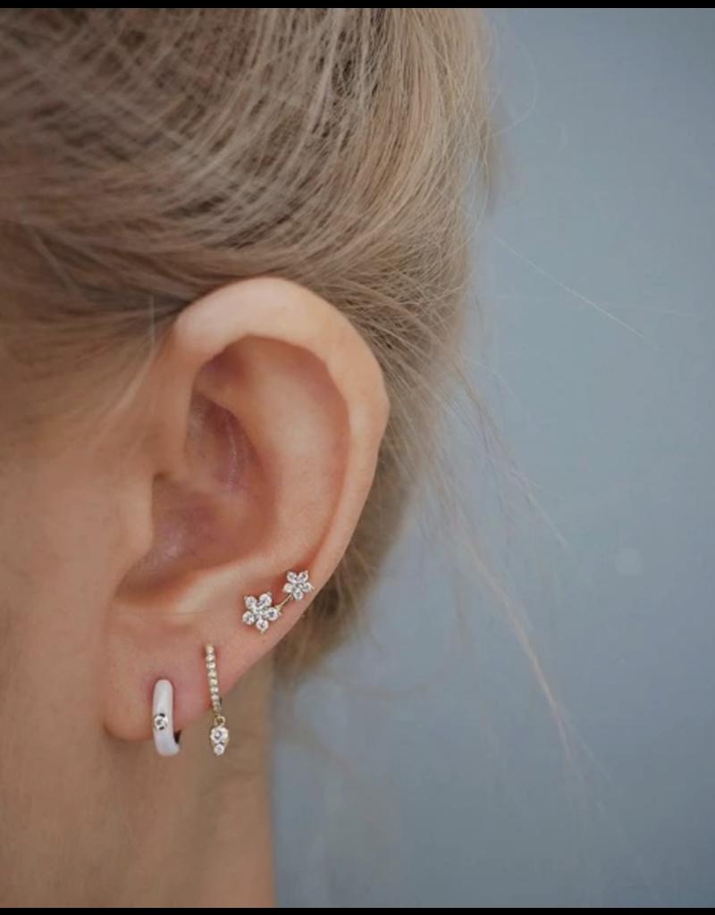 EF Collection White Enamel Diamond Huggie