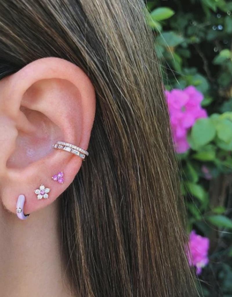 EF Collection Light Pink Enamel Diamond Huggie