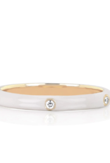 EF Collection 3 Diamond White Enamel Stack Ring Size 6