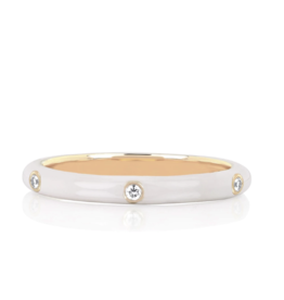 EF Collection 3 Diamond White Enamel Stack Ring Size 6