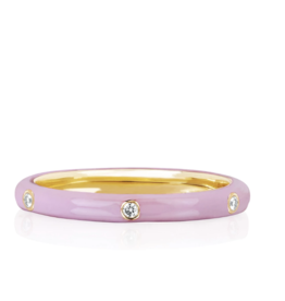 EF Collection 3 Diamond Light Pink Enamel Stack Ring Size 6