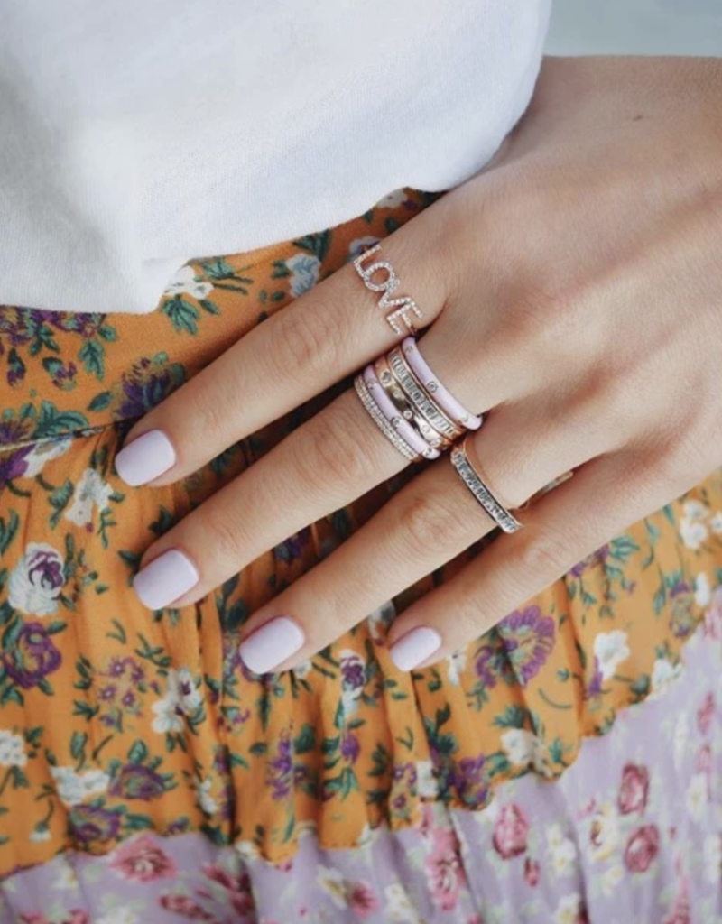 EF Collection 3 Diamond Light Pink Enamel Stack Ring Size 6