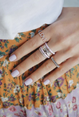 EF Collection 3 Diamond Light Pink Enamel Stack Ring Size 7