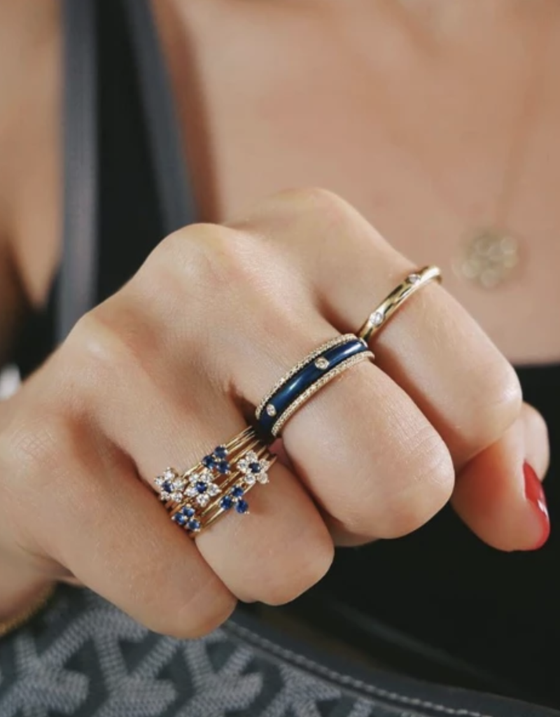 EF Collection 3 Diamond Navy Enamel Stack Ring Size 6