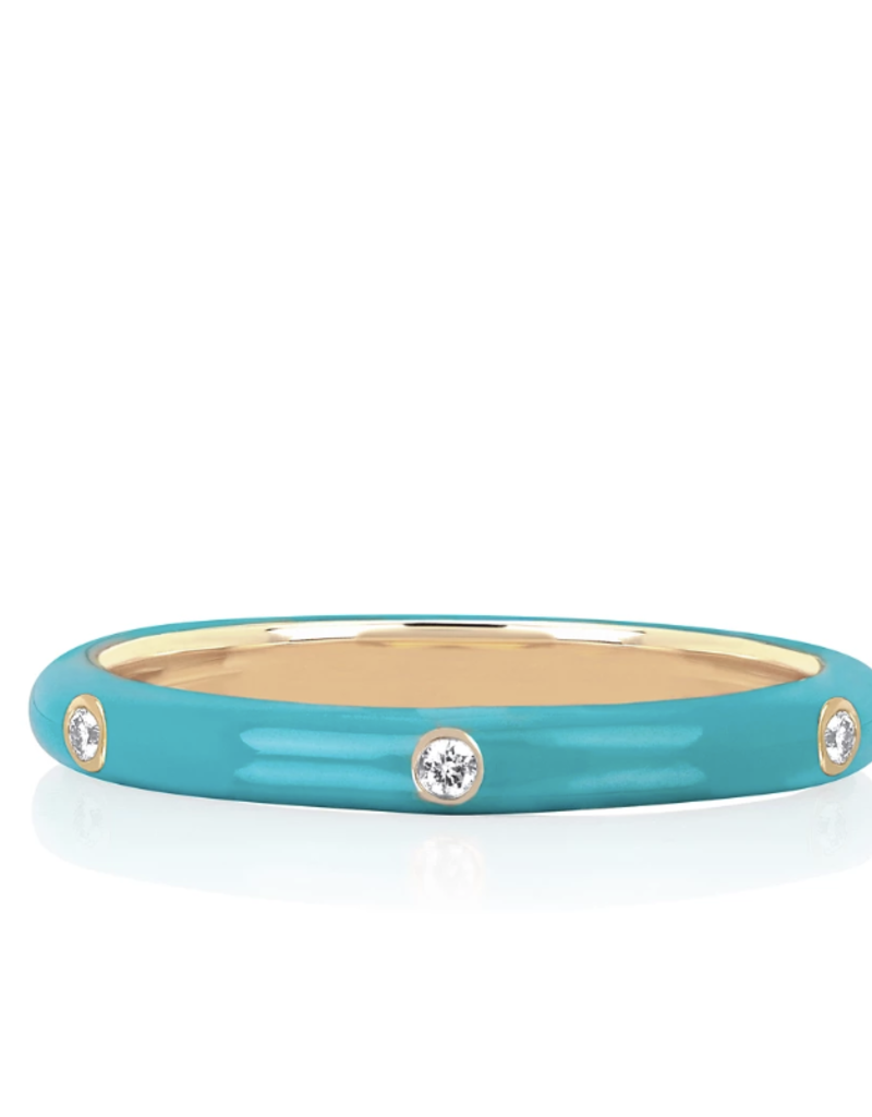 EF Collection 3 Diamond Turquoise Enamel Stack Ring Size 6