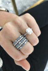 EF Collection 3 Diamond Light Grey Enamel Stack Ring Size 6
