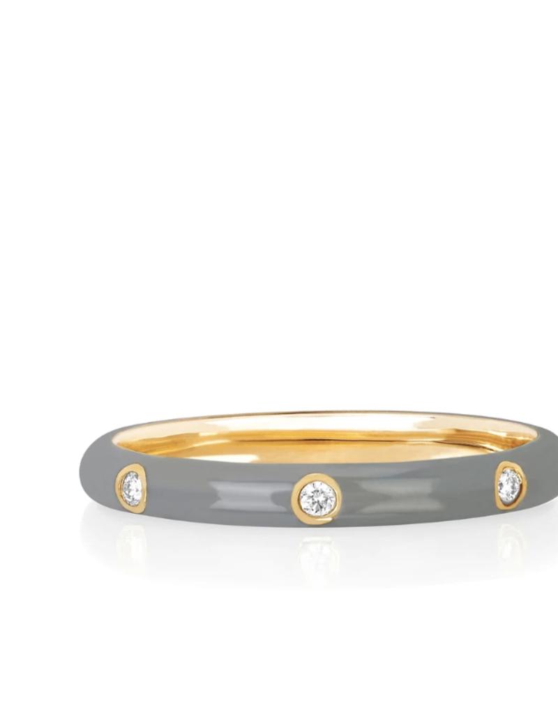 EF Collection 3 Diamond Light Grey Enamel Stack Ring Size 7