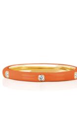 EF Collection 3 Diamond Orange Enamel Stack Ring Size 6