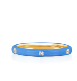 EF Collection 3 Diamond Blue Enamel Stack Ring Size 6
