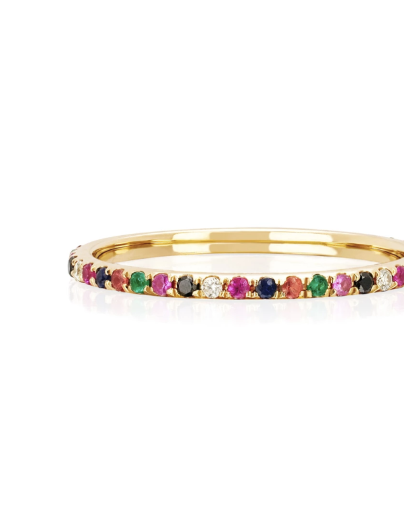 EF Collection EF Collection Diamond Rainbow Eternity Band Ring- Yellow Gold- Size 7