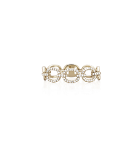 Yellow Gold and Diamond Chain Link Ring- Size 6
