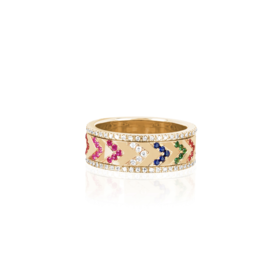 EF Collection Multi Diamond Rainbow Chevron Spinning Ring- Size 8