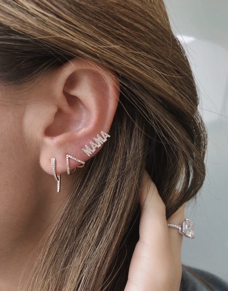 EF Collection Diamond MAMA Stud Earring