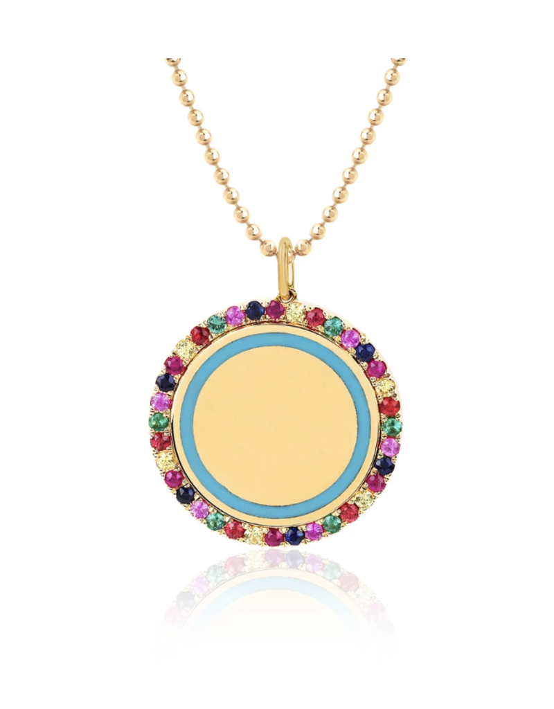 EF Collection Rainbow & Turquoise Enamel Disc Necklace