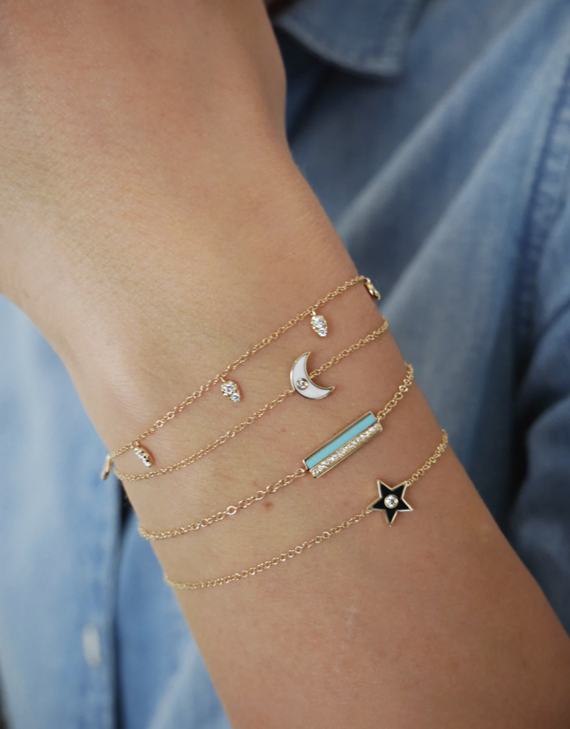 EF Collection Diamond and White Enamel Moon Chain