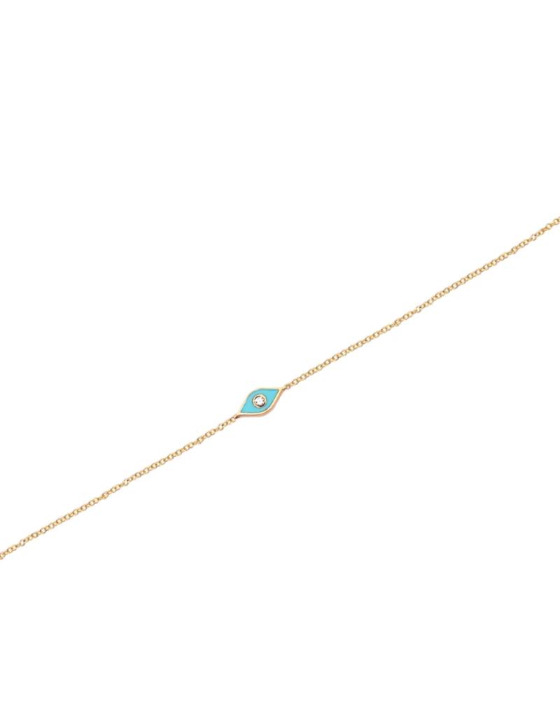 EF Collection Diamond and Turquoise Enamel Evil Eye