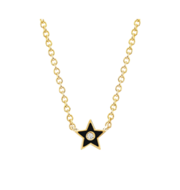 EF Collection Diamond and Black Enamel Star Necklace
