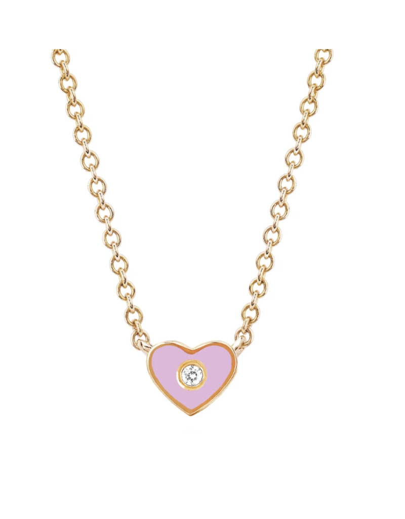 EF Collection Diamond and Pink Enamel Heart Necklace