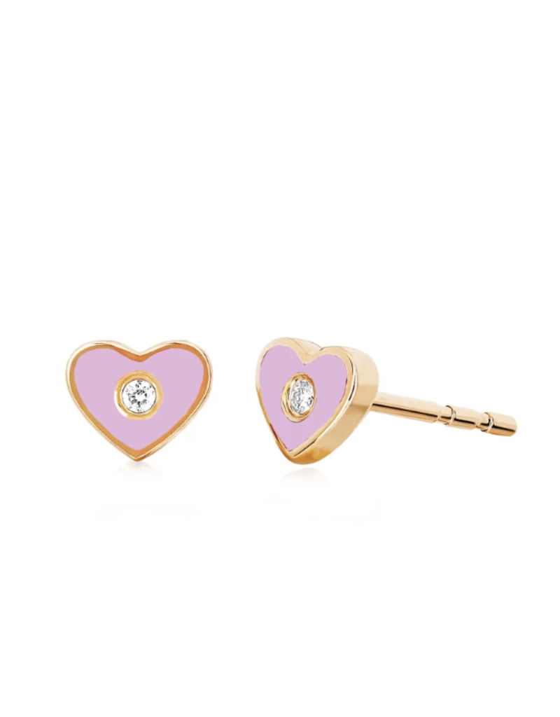 EF Collection Diamond and Pink Enamel Heart Studs