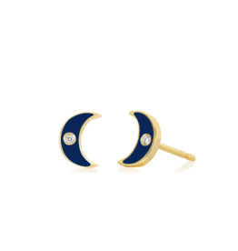 EF Collection Diamond and Navy Enamel Moon Stud