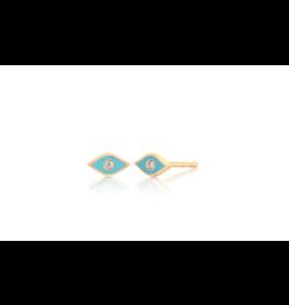 Diamond and Turquoise Enamel Evil Eye Studs