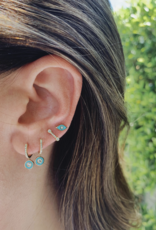 EF Collection Diamond and Turquoise Enamel Evil Eye Studs