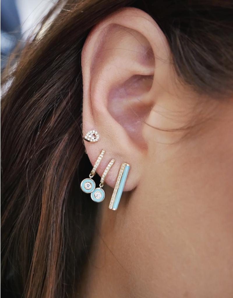 EF Collection Diamond Huggie With White Enamel Bezel Drop Earring