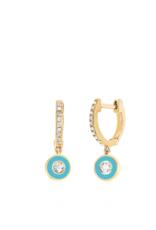 EF Collection Diamond Huggie With Turquoise Enamel Bezel Drop Earring