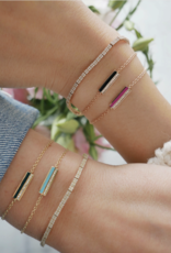EF Collection Diamond & Black Enamel Bar Friendship Bracelet