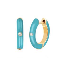 EF Collection Diamond Turquoise Enamel Huggie Earring