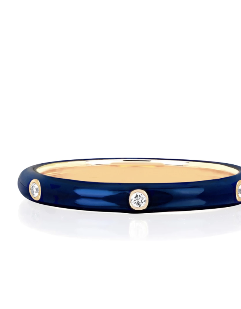 EF Collection 3 Diamond Navy Enamel Stack Ring- Size 7