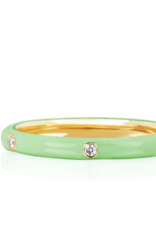 EF Collection 3 Diamond Mint Enamel Stack Ring- Size 7