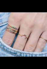 Zoe Chicco Rainbow Sapphire Gold Bezel Set Ring