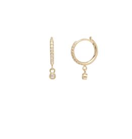 Zoe Chicco Diamond Hoops with Hanging Bezel Set