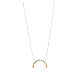 14k Medium Rainbow Sapphire Arc Necklace