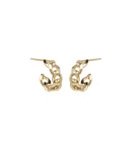 Zoe Chicco Gold Medium Curb Chain Hard Huggie Earrings